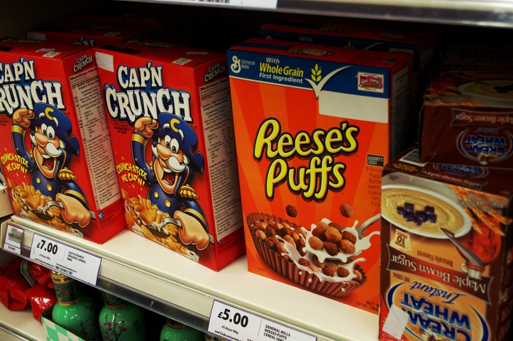 The American import cereals, with their nutrition labels covered