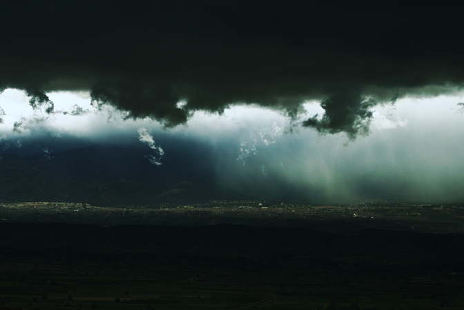 Rainstorm Under the Mountains