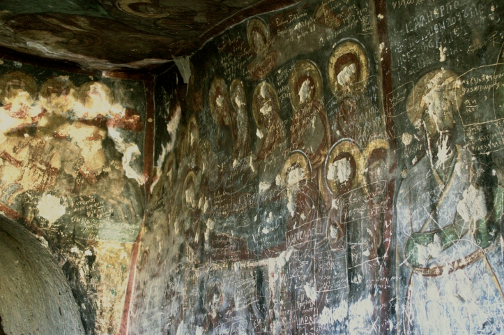 Church Murals, with eyes scratched out by Greek-Turkish Exiles