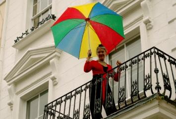 Street Party, Rain, Dancing, umbrella,