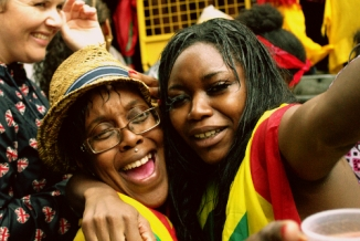 Street party, Rain, Dancing in the Rain, Revellers, Notting Hill Carnival 2014
