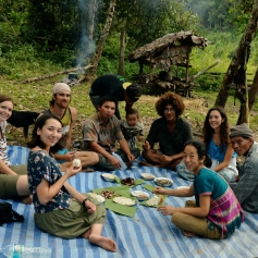 Picnic at the rice field on the last day of the harvest