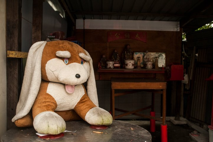 Buddhist, Shrine, Streets of Penang, Stuffed Dog, Offering, Religion, Malaysia